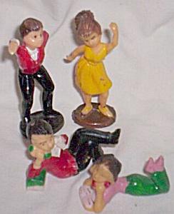 4 Vintage Cake Toppers Dancing Teens Phone Call Teens (Image1)