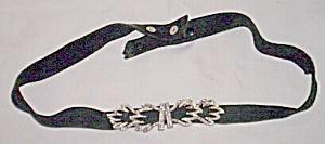 50's Thin Suede Belt Rhinestone Leaf Clasp (Image1)