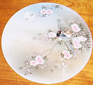 Antique Porcelain Tea Tile Round Roses & Birds (Image1)