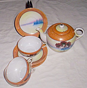 11 Piece Porcelain Tea Set Hand Painted (Image1)