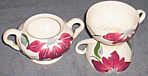 Blue Ridge Pottery Sugar & 2 Cups Poinsettia (Image1)