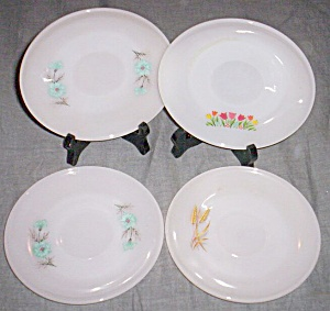 4 Fire King Saucers Tulips Flowers Wheat