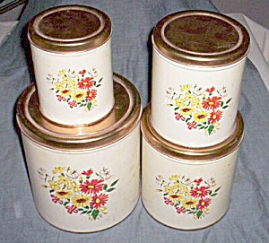 4 PC Tin Decoware Canister Set Red & Yellow Flowers (Image1)