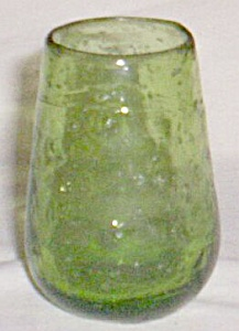Vintage Art Glass Toothpick Holder Green Bubbles (Image1)