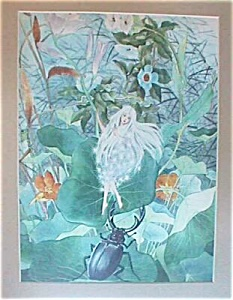 1939 CHINESE ART PRINT FAIRY IN FOREST (Image1)