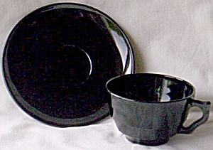 Black Glass Cup and Saucer (Image1)