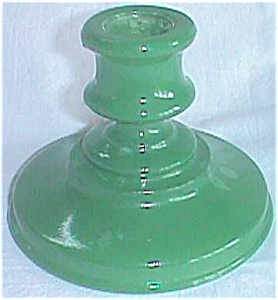 Vintage Glass Candle Holder Green Fired on Color (Image1)