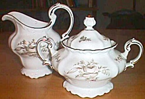 J Haviland Cream & Sugar Brown Rose Bavaria Germany (Image1)