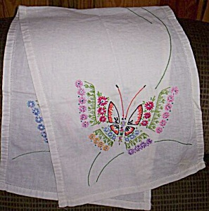 Bright Butterfly Embroidered Table Runner