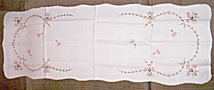 Vintage Embroidered Table Runner Peach Flowers