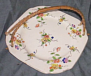 Antique Serving Plate Bamboo Handle