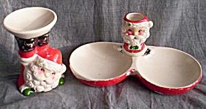 Vintage Santa Candle And Dish