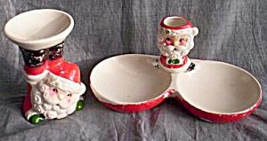 Vintage Santa Candle and Dish (Image1)
