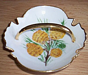 Hand Painted Pine Cone Lemon Server Ethel Ron