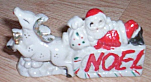 Antique Porcelain Santa on Sleigh Noel (Image1)