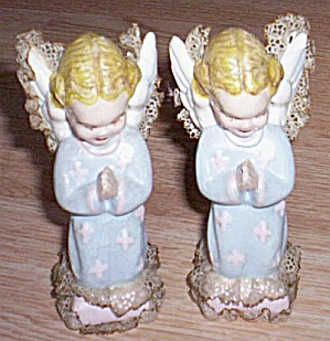 Pair Vintage Chalkware Angels Lace