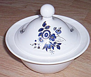 Blue Floral Pottery Candy Bowl