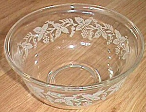 Small Glass Mixing Bowl Frosted Grape Vine Etch