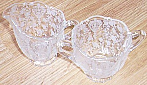 Cambridge Glass Mini Cream & Sugar Rose Point (Image1)