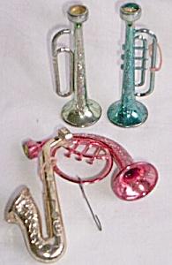 4 Vintage Christmas Ornaments Horns (Image1)