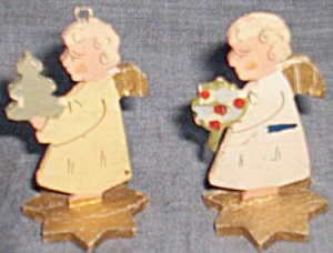 2 Antique German Wooden Miniature Angels (Image1)