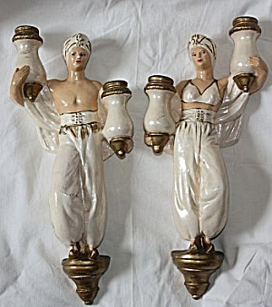 "Vintage Figural ""arabian"" Wall Sconces"