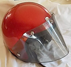 Vintage Metallic Red Motorcycle Helmet