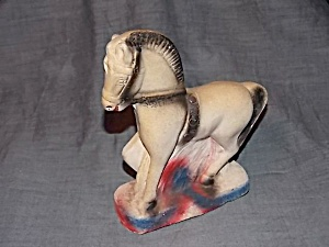 Colorful Chalkware Circus Horse