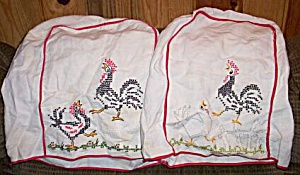 Pair Vintage Embroidered Kitchen Covers Roosters (Image1)