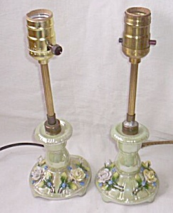 Pair Antique German Porcelain Boudoir Lamps (Image1)