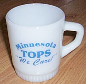 """Fire King Stackable Mug MN Tops """"We Care"""" (Image1)"""