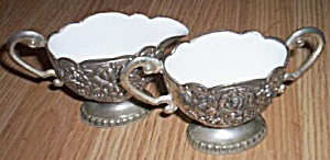 White Metal Cream Sugar Enameled Interior (Image1)
