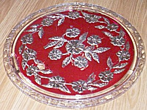 Stunning Floral Cake Plate Red & Silver Treatment (Image1)