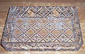 Heavy Old Rectangle Glass Dish Snowflake & Diamond (Image1)