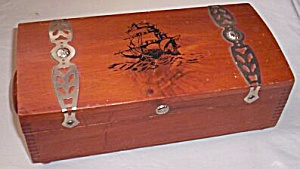 Decorative Cedar Box Tall Sailing Ship Lid (Image1)
