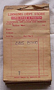 Receipt Book Linnums Dept. Store 1940's (Image1)