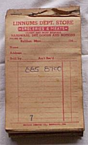 Receipt Book Linnums Dept. Store 1940's (Image1)