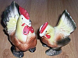 Vintage Hen Rooster Salt And Pepper Shakers