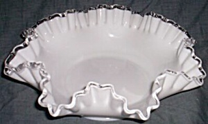 Fenton Silver Crest Large Round Double Crimped Bowl