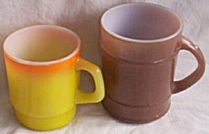 2 Fire King Mugs Brown Barrel Stacker