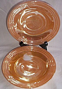 2 Fire King Saucers Three Bands Peach Luster (Image1)