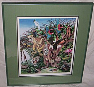 S. Andreasey Signed Numbered Print Hidden Animals (Image1)