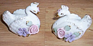 Porcelain Rose Covered Swan Salt And Pepper Shakers