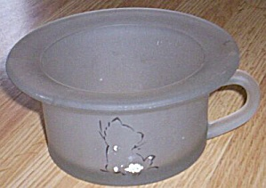 Very Unusual Satin Glass Potty Chair Bowl w/ Kitten Transfer (Image1)