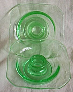 Pair US Glass Uranium Candle Holders (Image1)