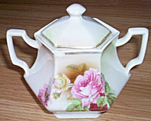 Antique German Porcelain Covered Sugar (Image1)