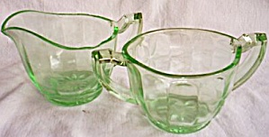 Us Glass Green Uranium Cream Sugar Set