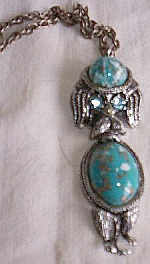 Vintage Jointed Poodle Pendent Blue Stones (Image1)