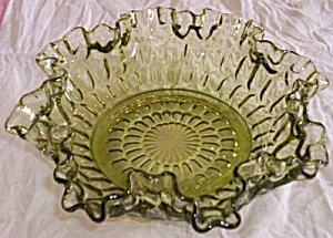 Fenton Thumbprint Double Crimped Ruffled Bowl Green