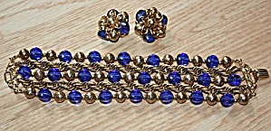 Napier 5 String Bracelet and Earrings Blue and Gold (Image1)